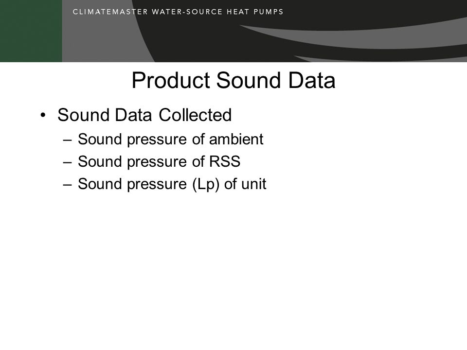 Product Sound Data Sound Data Collected Sound pressure of ambient