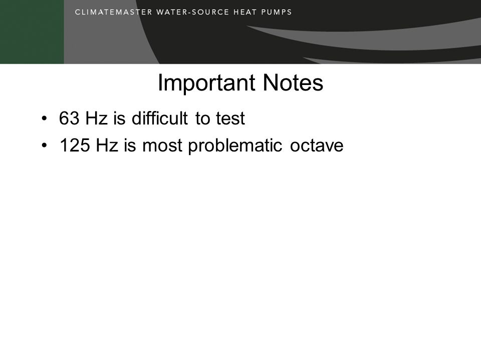Important Notes 63 Hz is difficult to test