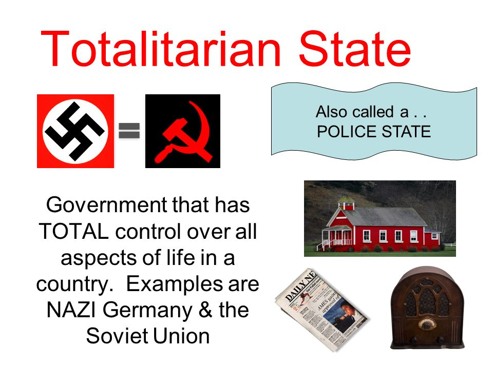 Totalitarian State Also called a . . POLICE STATE.