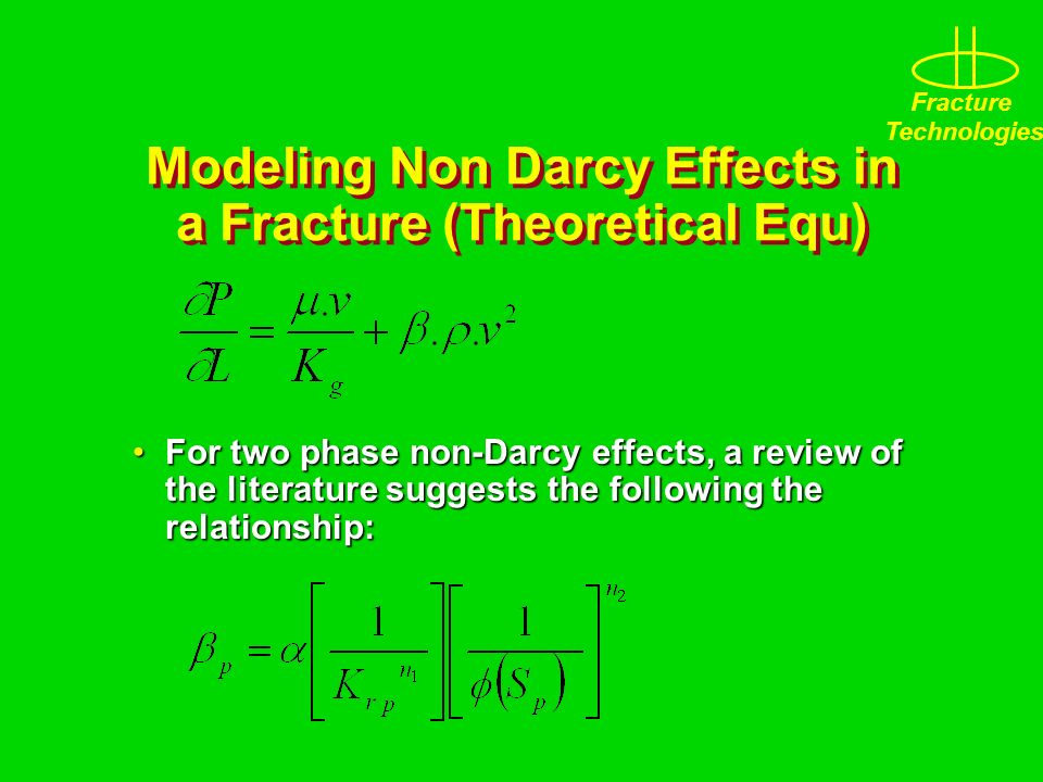 Modeling Non Darcy Effects in a Fracture (Theoretical Equ)