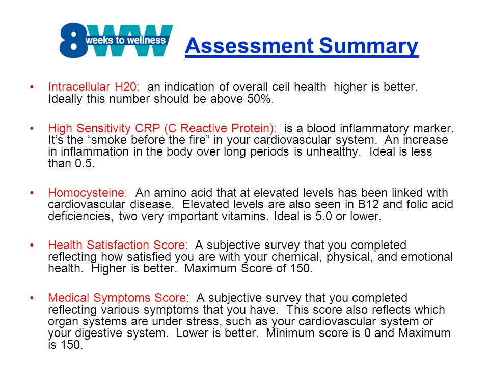 Assessment Summary Intracellular H20: an indication of overall cell health higher is better. Ideally this number should be above 50%.