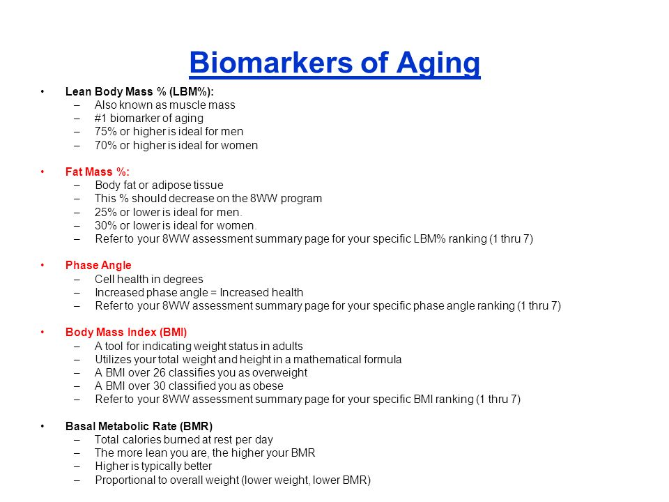 Biomarkers of Aging Lean Body Mass % (LBM%): Also known as muscle mass