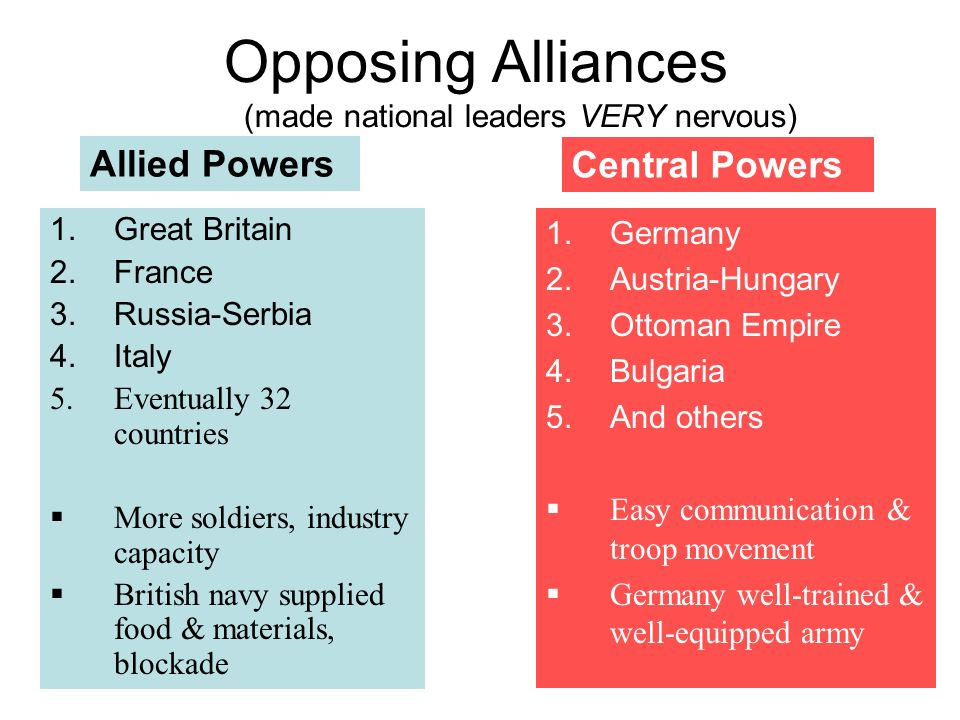 Opposing Alliances (made national leaders VERY nervous)