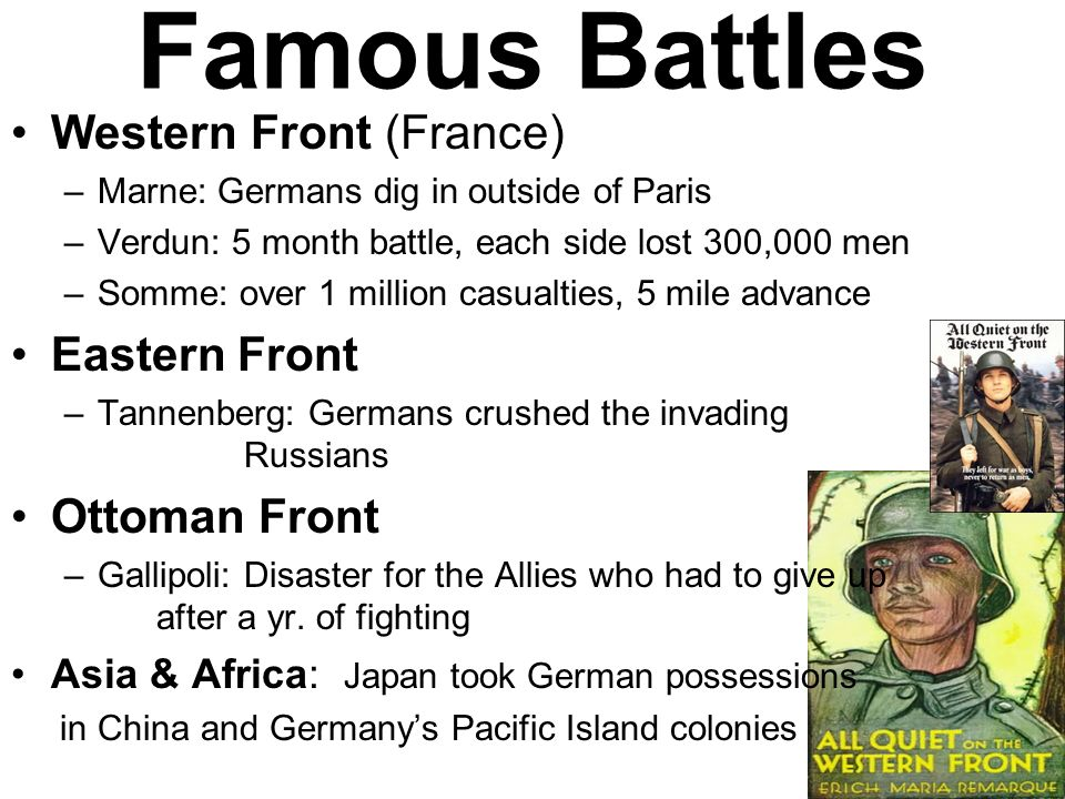 Famous Battles Western Front (France) Eastern Front Ottoman Front