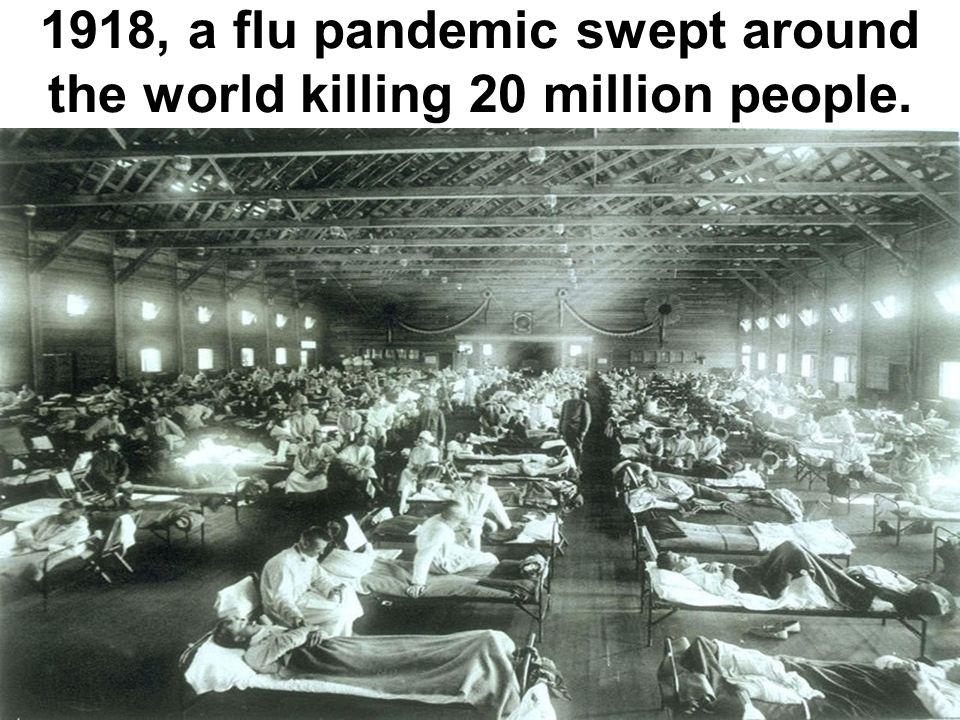 1918, a flu pandemic swept around the world killing 20 million people.