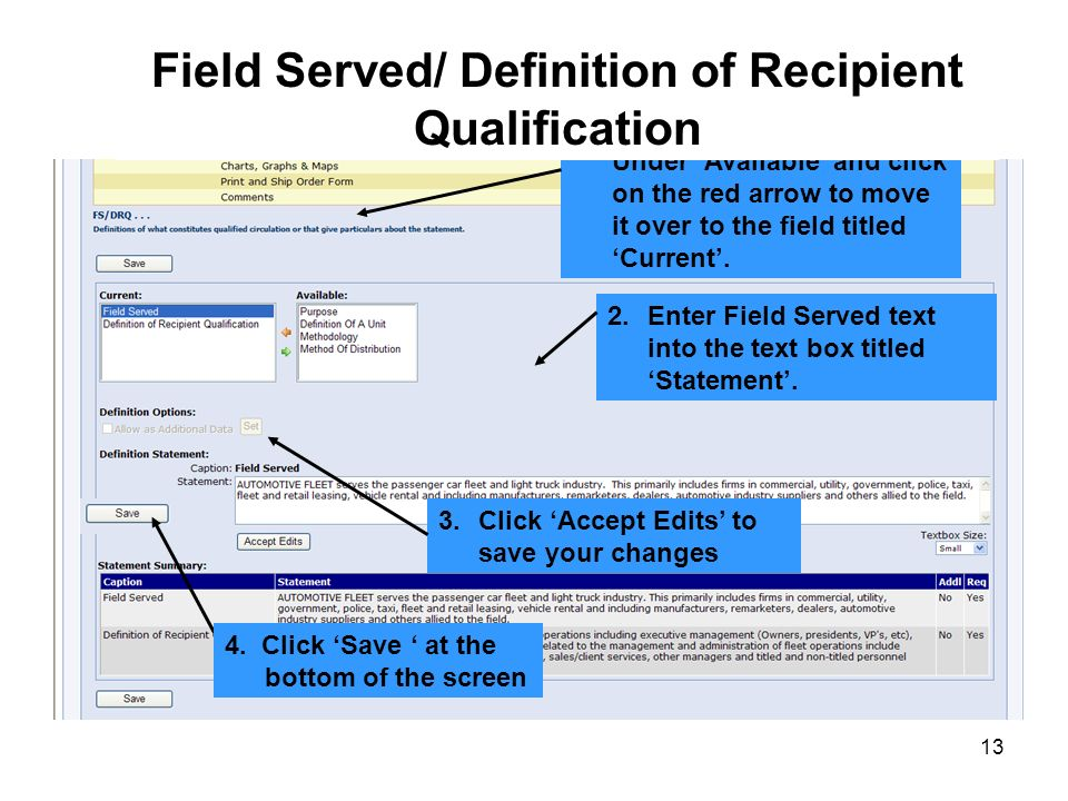 Field Served/ Definition of Recipient Qualification