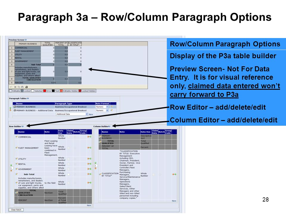 Paragraph 3a – Row/Column Paragraph Options