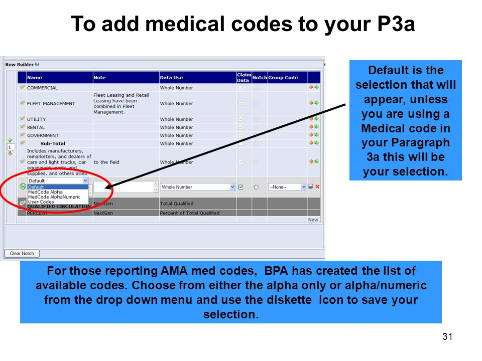 To add medical codes to your P3a
