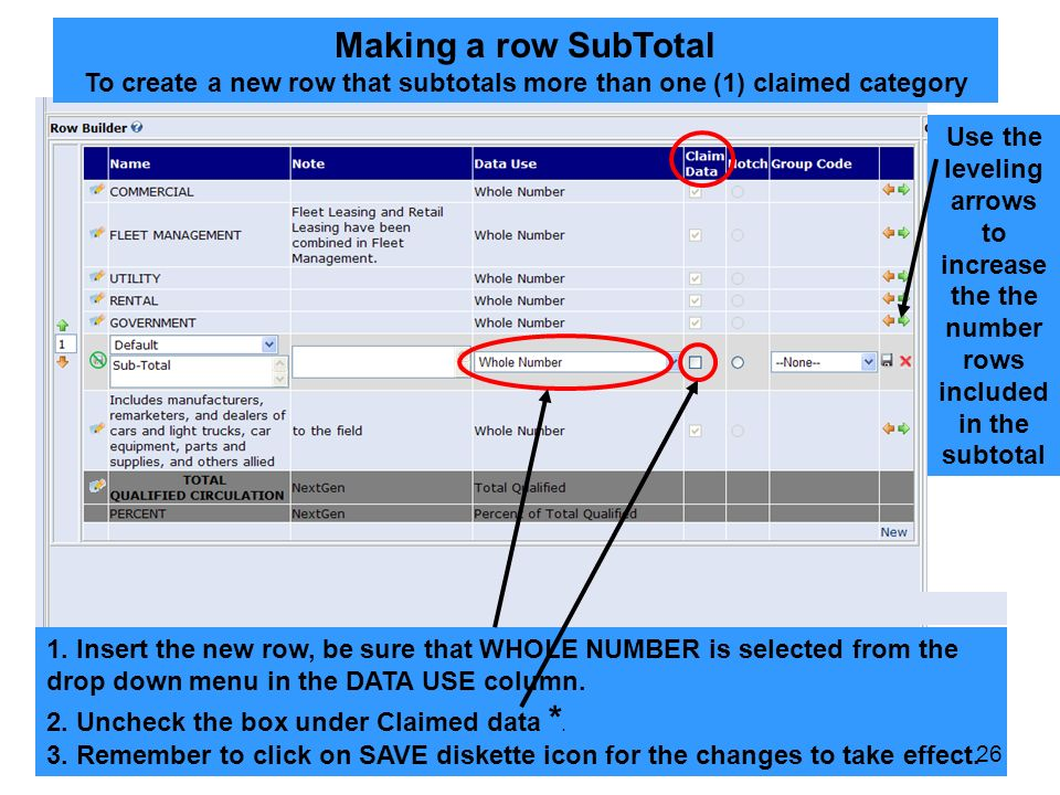 Making a row SubTotal To create a new row that subtotals more than one (1) claimed category