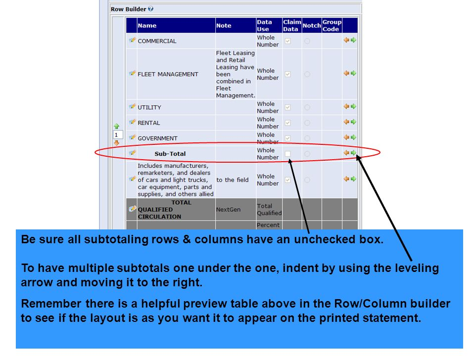 Be sure all subtotaling rows & columns have an unchecked box