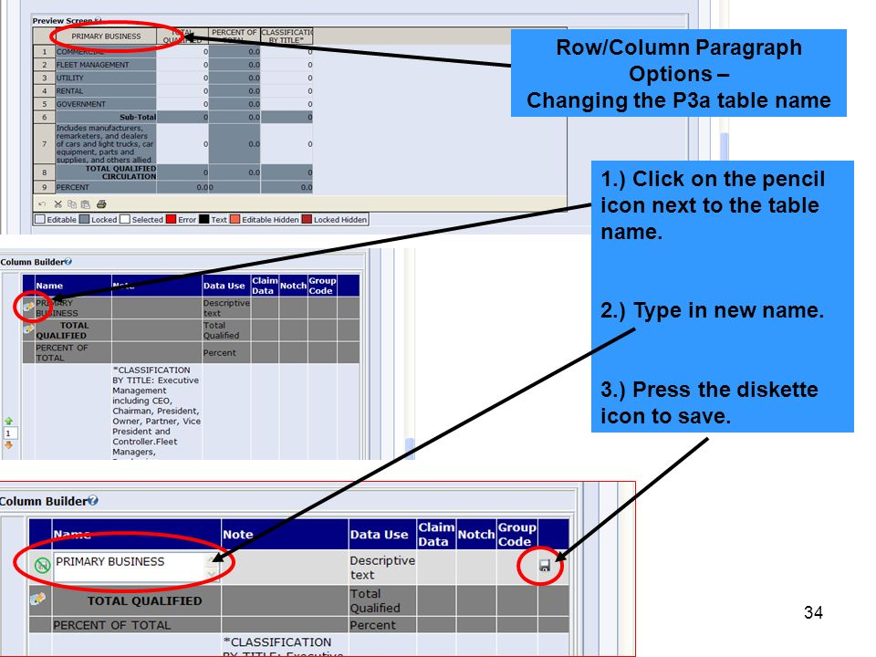 Row/Column Paragraph Options – Changing the P3a table name