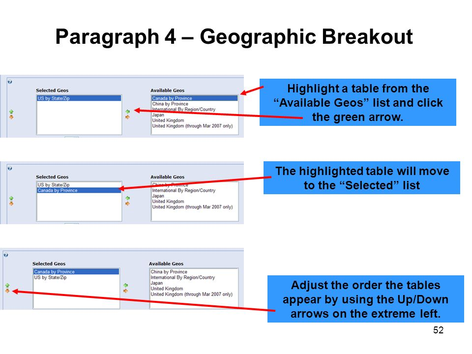 Paragraph 4 – Geographic Breakout