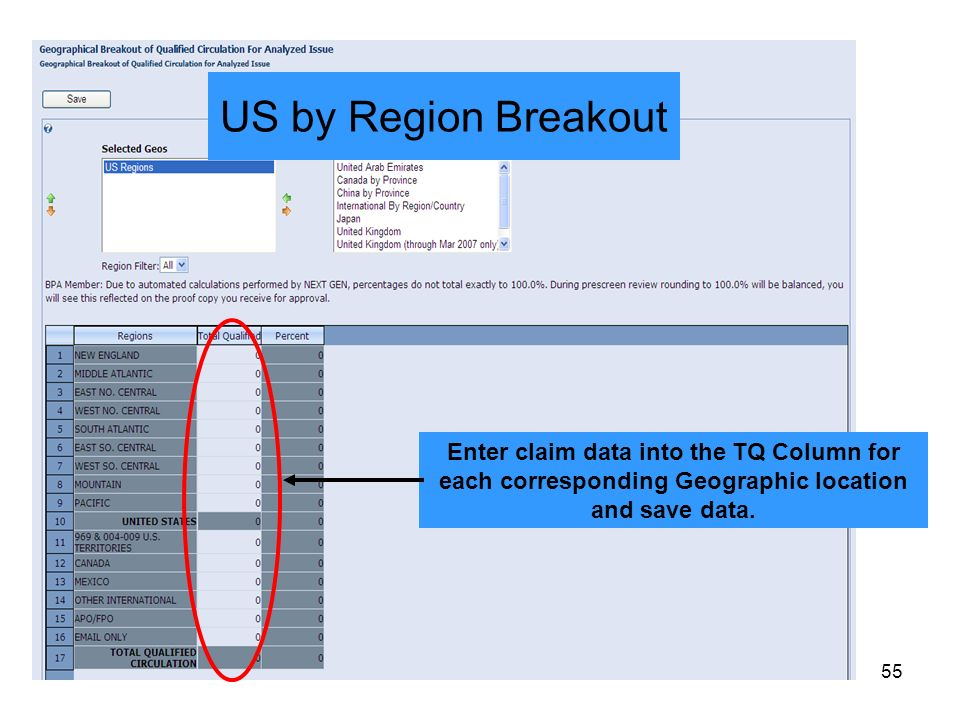 US by Region Breakout Enter claim data into the TQ Column for each corresponding Geographic location and save data.