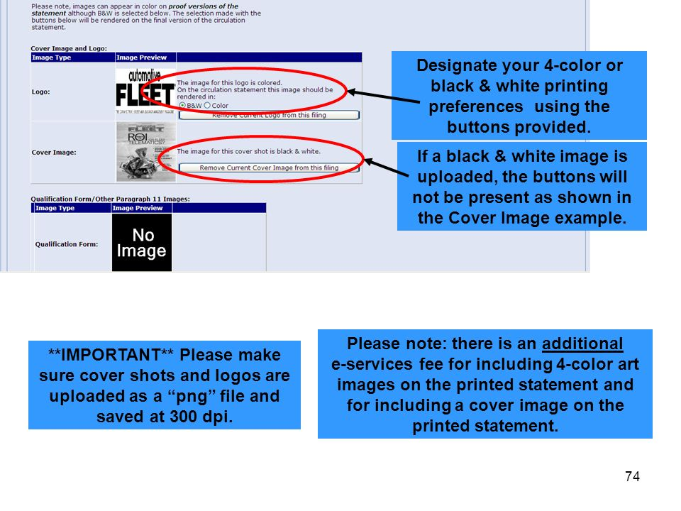 Designate your 4-color or black & white printing preferences using the buttons provided.