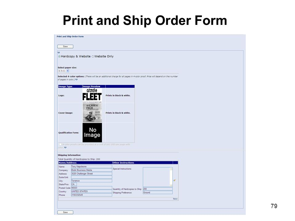 Print and Ship Order Form