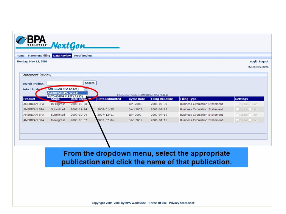 From the dropdown menu, select the appropriate publication and click the name of that publication.