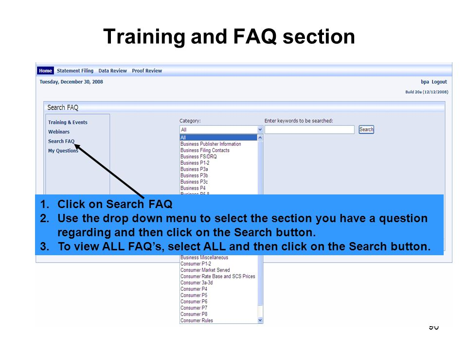 Training and FAQ section