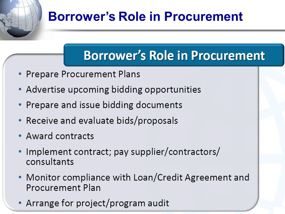 Borrower's Role in Procurement