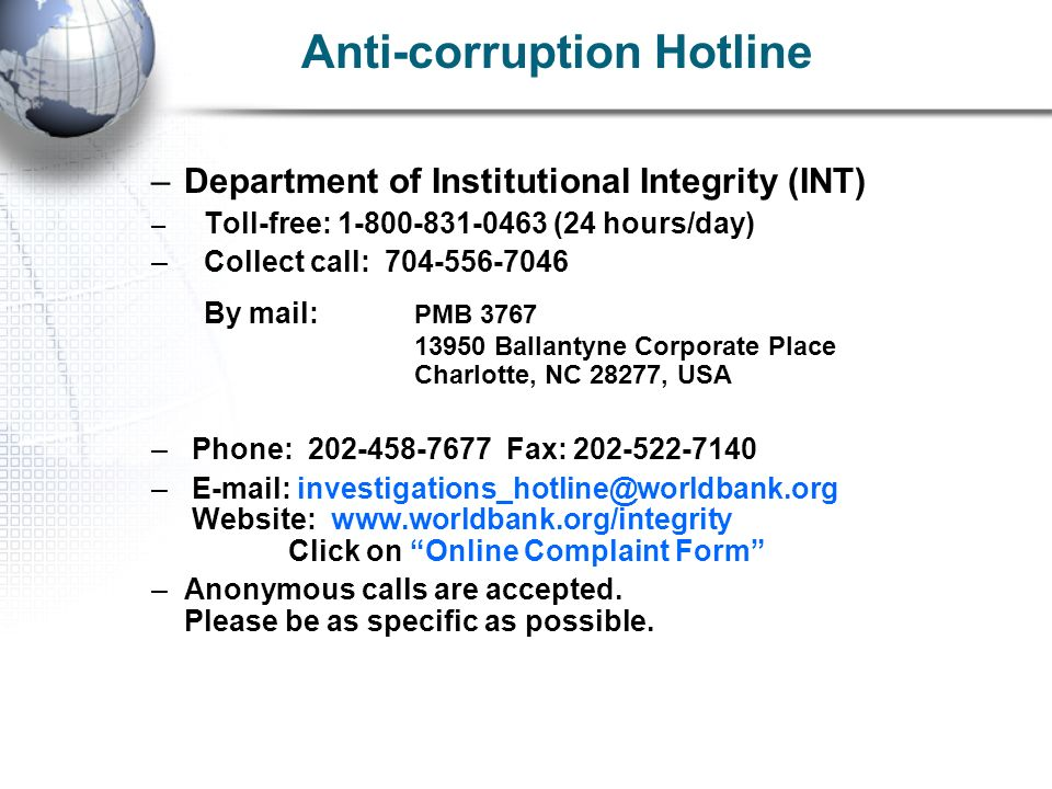Anti-corruption Hotline