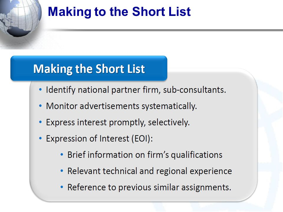 Making to the Short List
