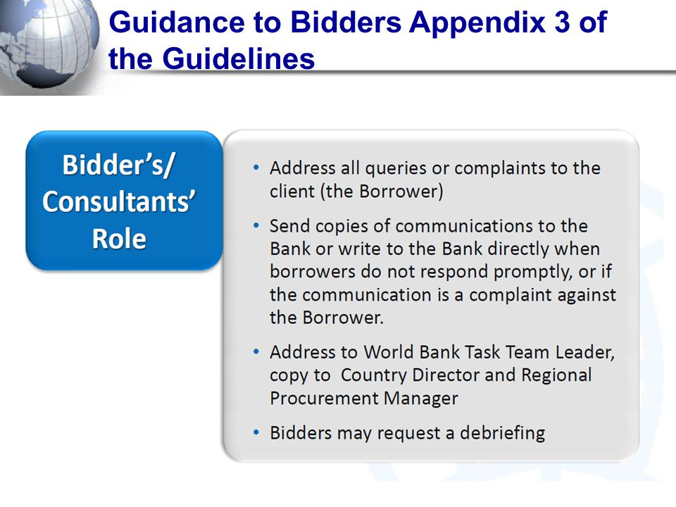 Guidance to Bidders Appendix 3 of the Guidelines