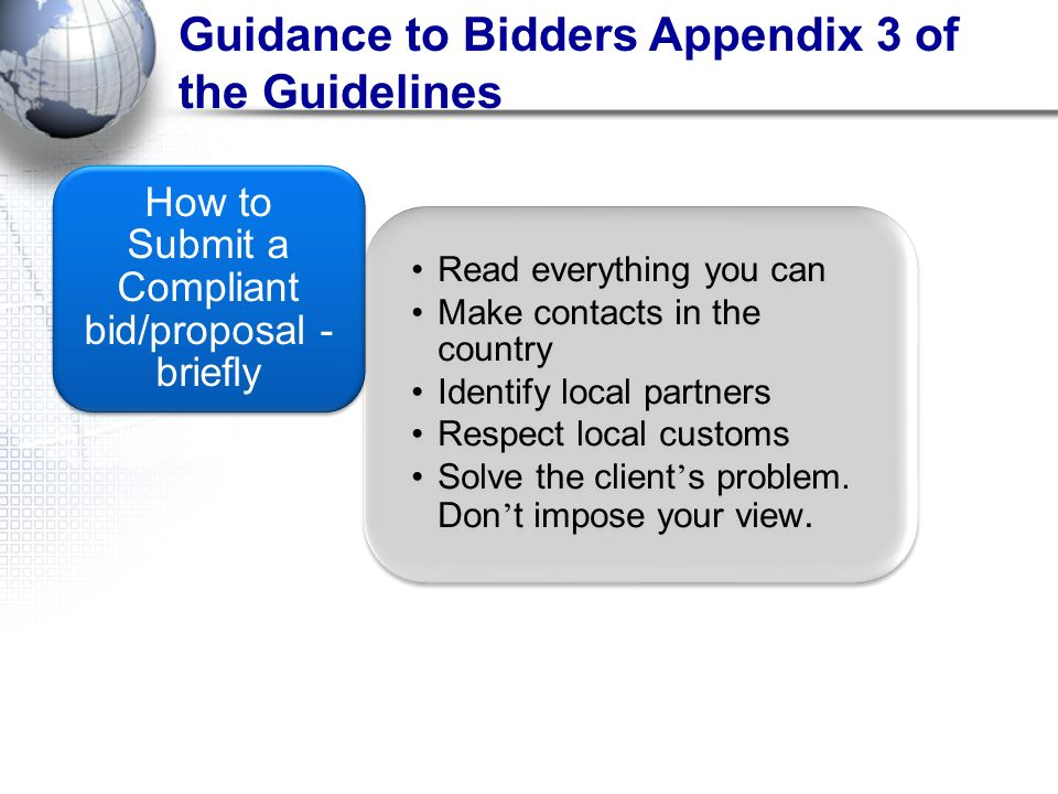 How to Submit a Compliant bid/proposal - briefly