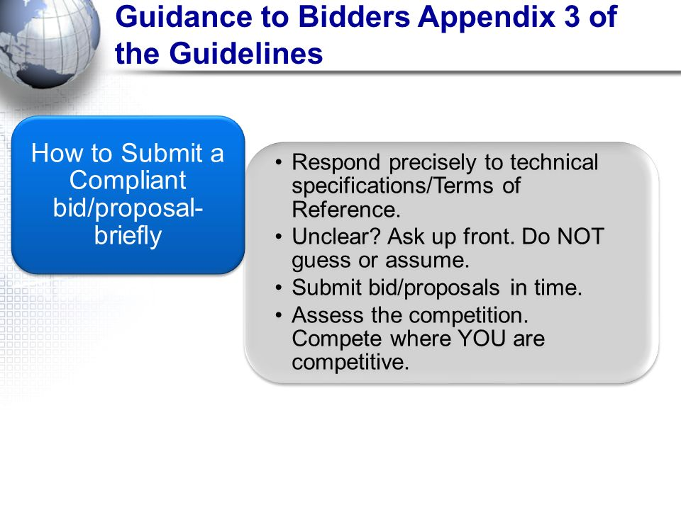 How to Submit a Compliant bid/proposal- briefly
