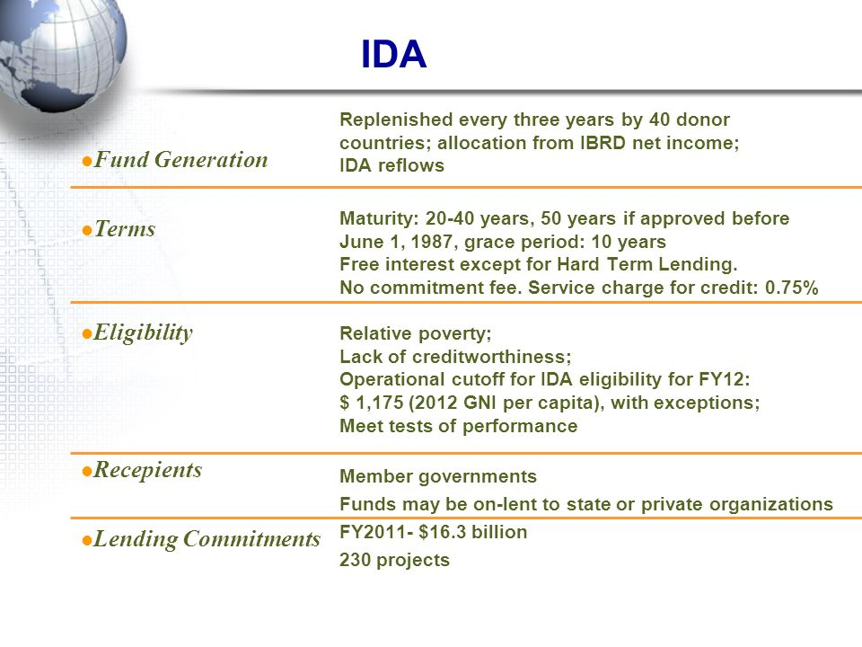 IDA Fund Generation Terms Eligibility Recepients Lending Commitments