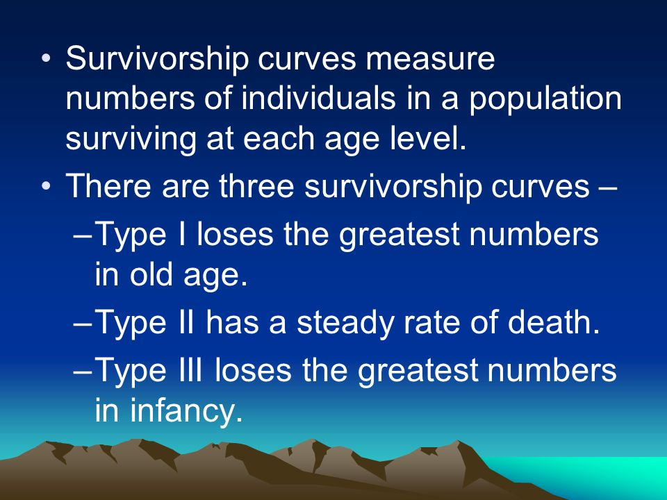 Survivorship curves measure numbers of individuals in a population surviving at each age level.