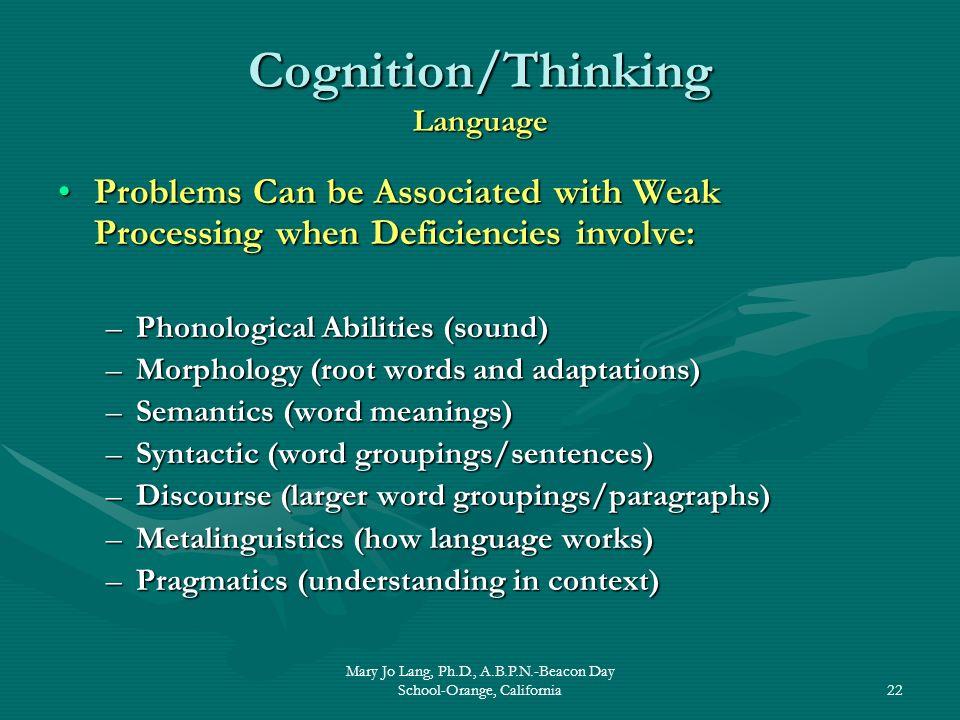 Cognition/Thinking Language
