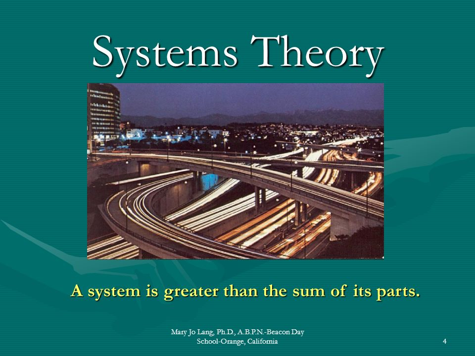 A system is greater than the sum of its parts.