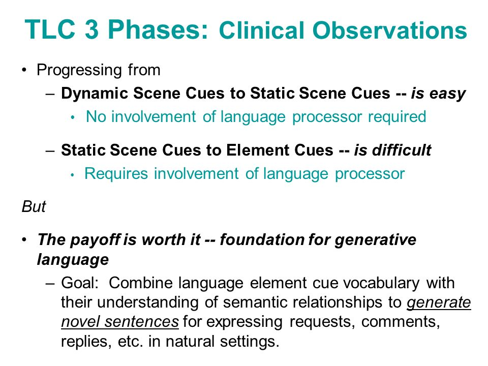 TLC 3 Phases: Clinical Observations