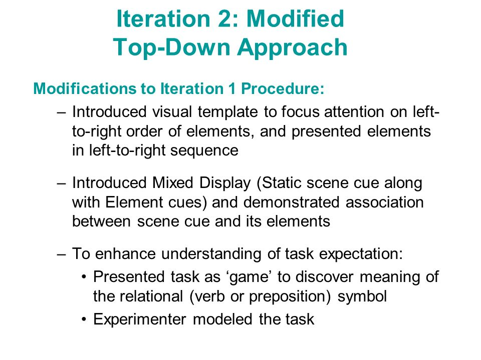 Iteration 2: Modified Top-Down Approach