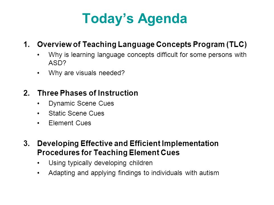 Today's Agenda Overview of Teaching Language Concepts Program (TLC)