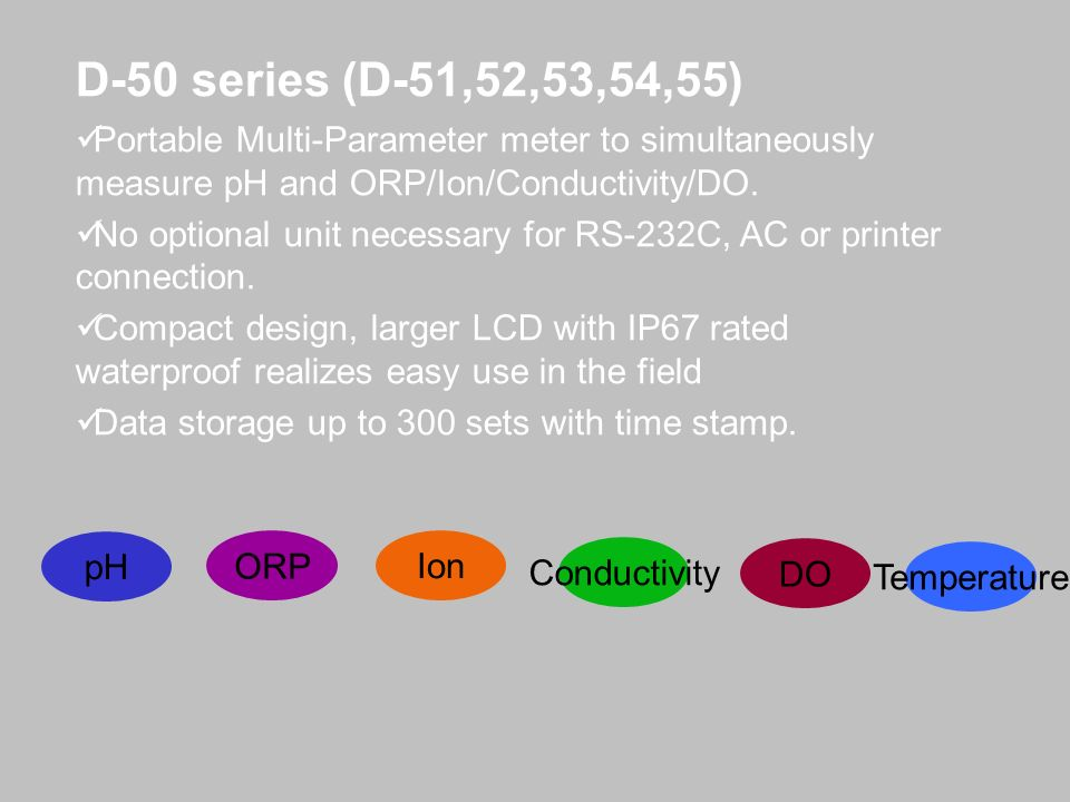 D-50 series (D-51,52,53,54,55) Portable Multi-Parameter meter to simultaneously measure pH and ORP/Ion/Conductivity/DO.