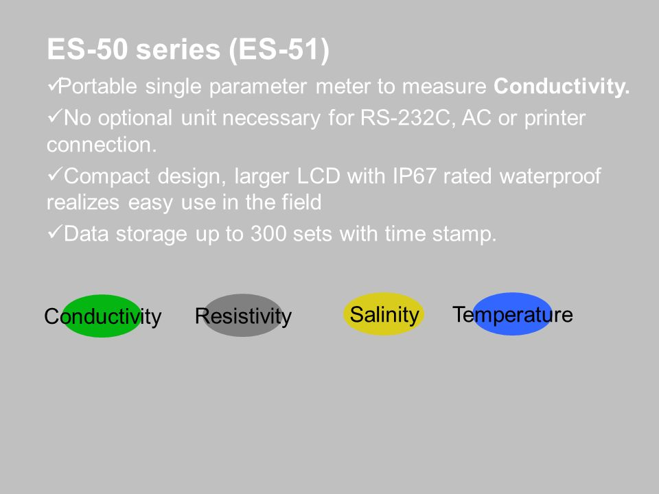 ES-50 series (ES-51)Portable single parameter meter to measure Conductivity. No optional unit necessary for RS-232C, AC or printer connection.