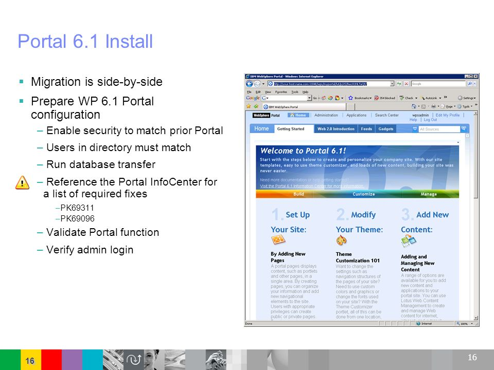 Portal 6.1 Install Migration is side-by-side