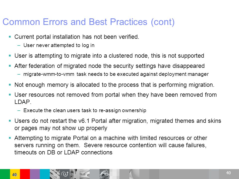Common Errors and Best Practices (cont)