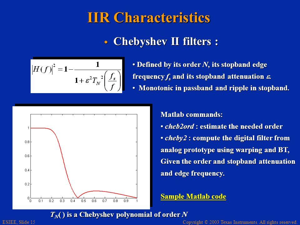 IIR Characteristics Chebyshev II filters :