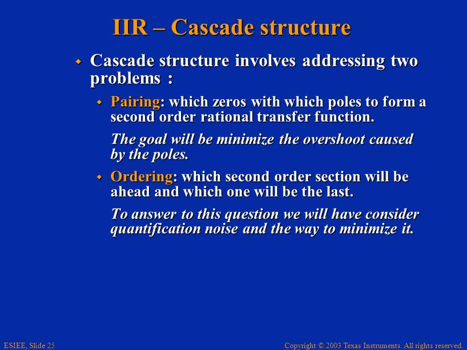 IIR – Cascade structure
