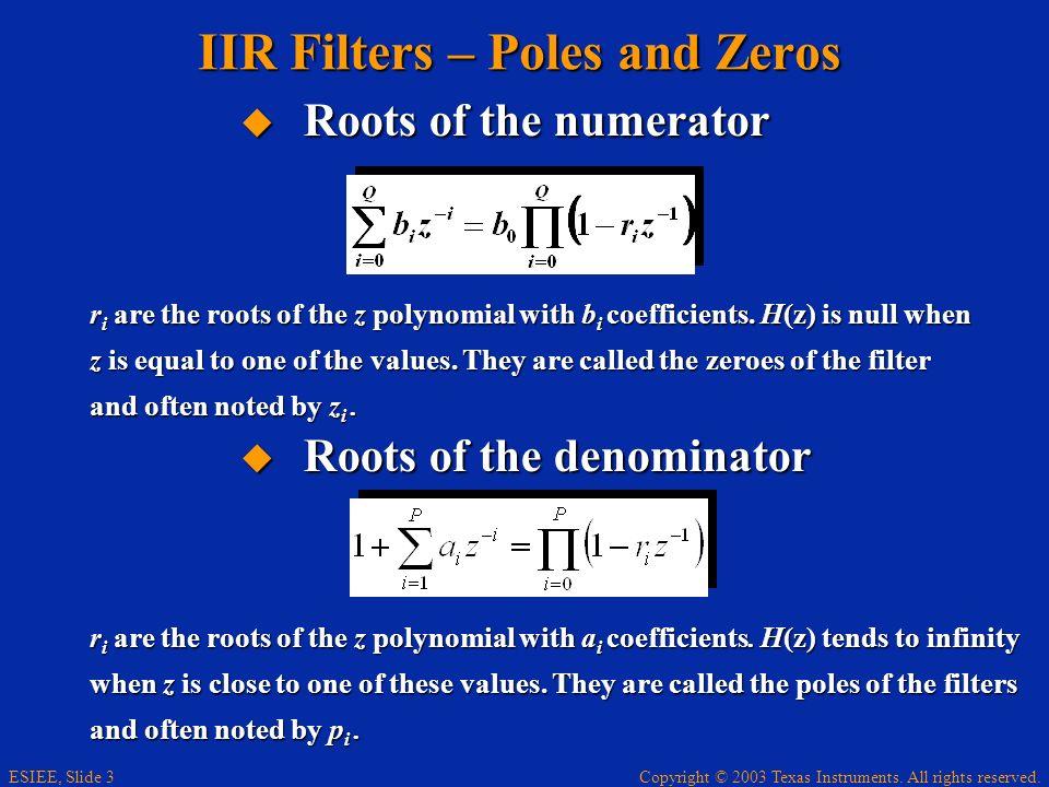 IIR Filters – Poles and Zeros