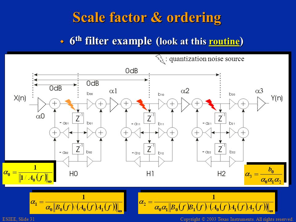Scale factor & ordering