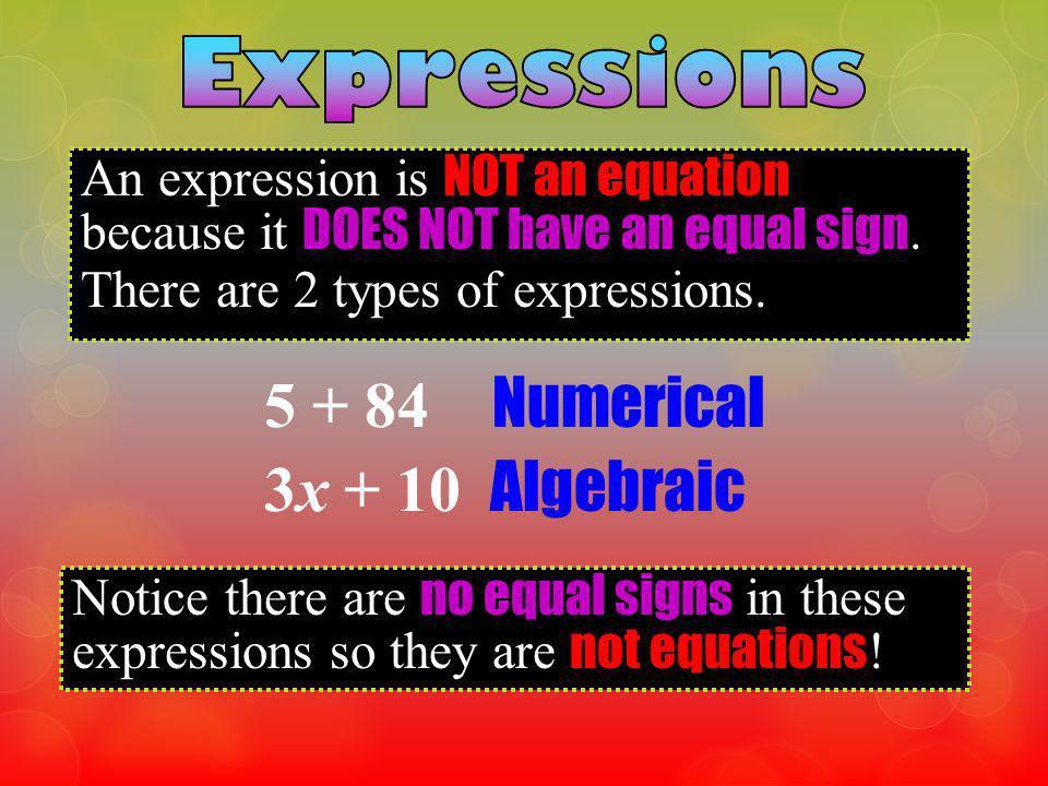 5 + 84 Numerical 3x + 10 Algebraic Expressions