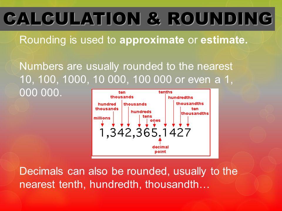 CALCULATION & ROUNDING