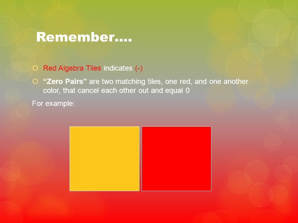 Remember…. Red Algebra Tiles indicates (-)