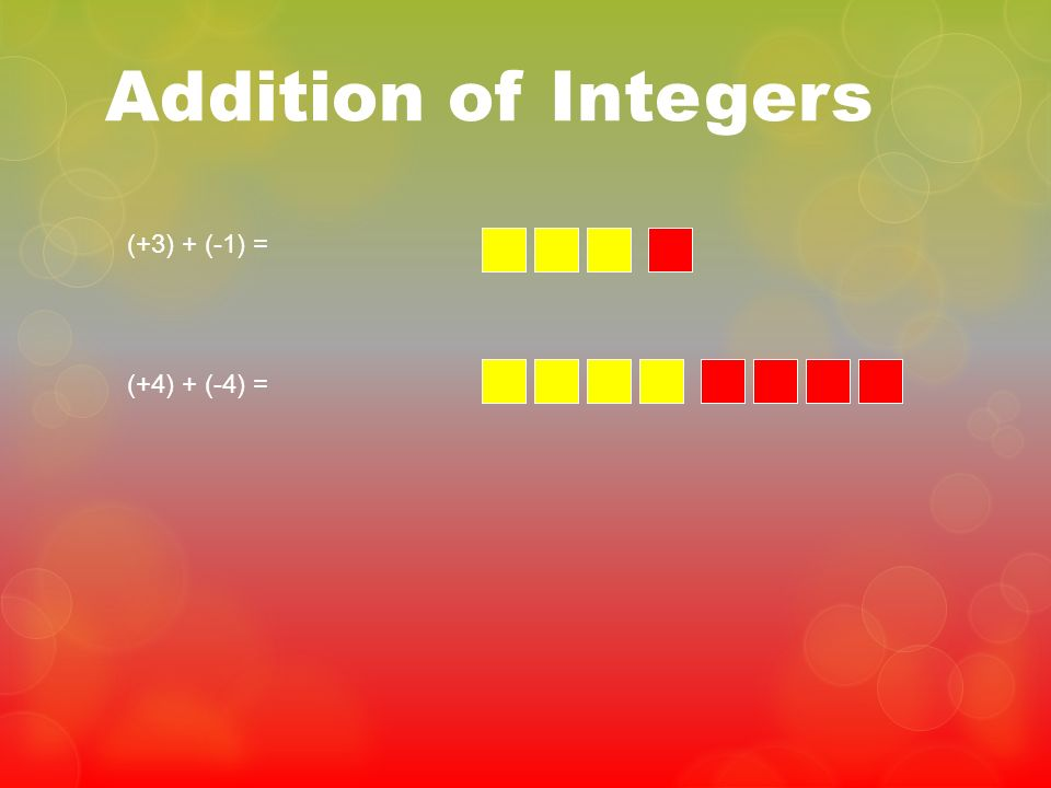 Addition of Integers (+3) + (-1) = (+4) + (-4) =