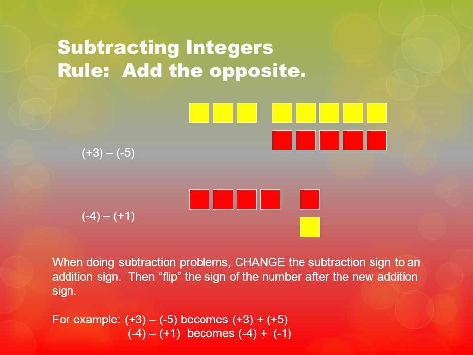 Subtracting Integers Rule: Add the opposite.