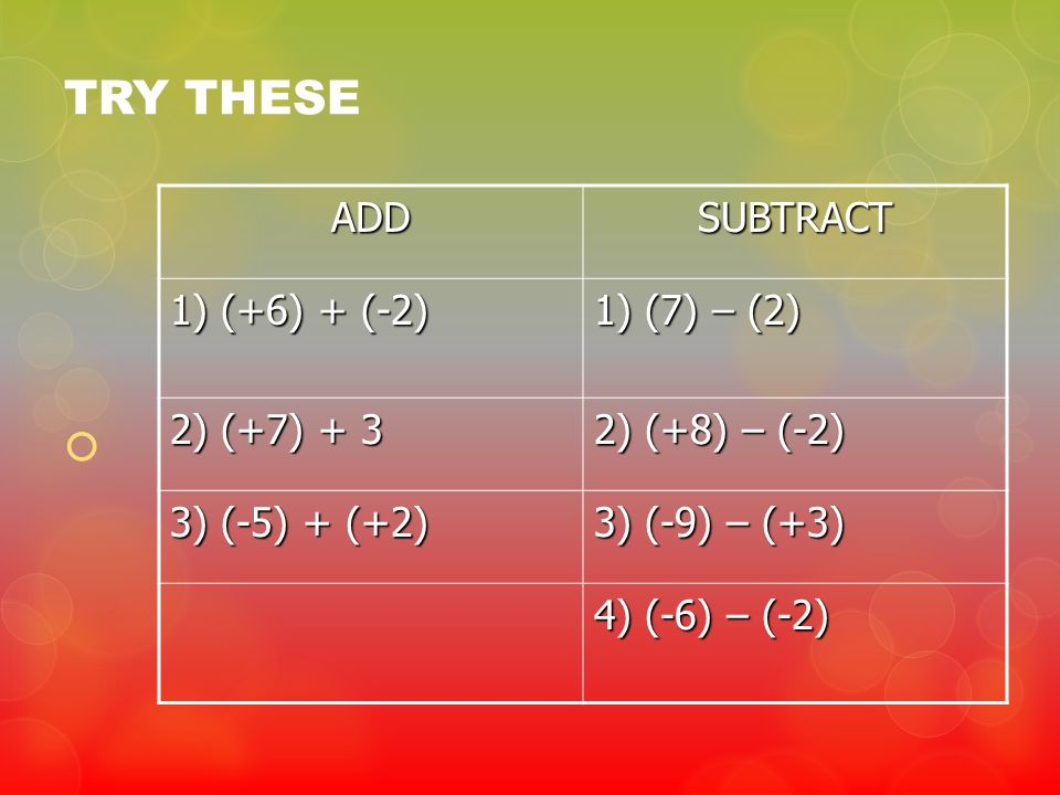 TRY THESE ADD SUBTRACT 1) (+6) + (-2) 1) (7) – (2) 2) (+7) + 3