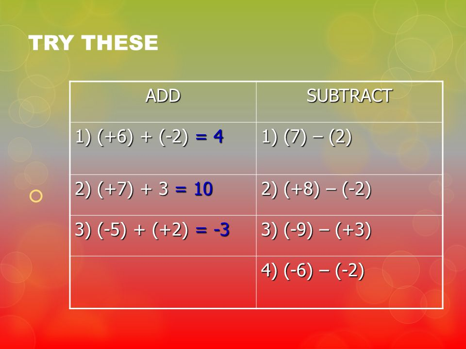 TRY THESE ADD SUBTRACT 1) (+6) + (-2) = 4 1) (7) – (2)