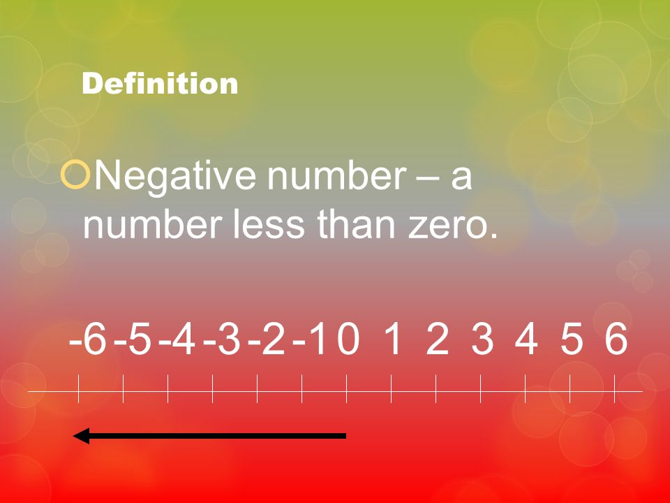 Definition Negative number – a number less than zero. -6 -5 -4 -3 -2 -1 1 2 3 4 5 6